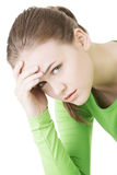 Young sad woman, have big problem or depression Stock Image
