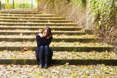 Young Sad Woman In Steps Royalty Free Stock Images