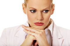 Young sad and worried business woman Royalty Free Stock Photo