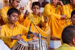 Young sadhus singing stock photo