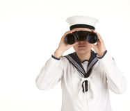 Young sailor with binoculars Royalty Free Stock Photos