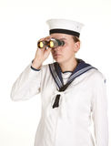 Young sailor with binoculars Royalty Free Stock Image