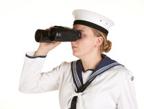 Young sailor with binoculars on white background Stock Image