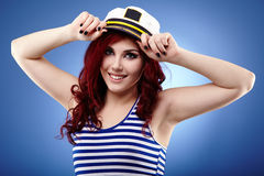 Young sailor girl in closeup Royalty Free Stock Image