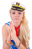 Young sailor with handcuffs Stock Photo