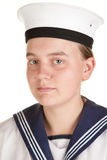 Young sailor isolated white background Royalty Free Stock Photo