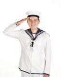 Young sailor saluting isolated white background. Young female sailor saluting isolated on white Stock Photography