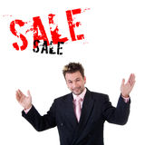 Young salesman. Young trustfulness salesman dressed in jacket Royalty Free Stock Photos