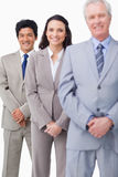 Young salespeople together with mentor Royalty Free Stock Photo