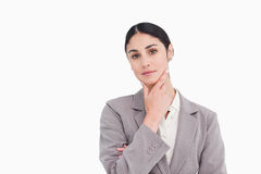 Young saleswoman in thinkers pose Stock Photo