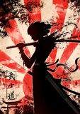 A young samurai girl with katana. The characters mean `the way of the warrior` in Japanese royalty free illustration