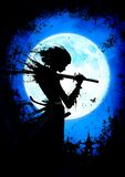 A young samurai girl with katana. On the background of the moon vector illustration
