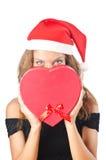 Young santa with giftbox Royalty Free Stock Photo