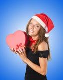 Young santa with giftbox on white Royalty Free Stock Photos