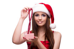 The young santa girl in christmas concept isolated on white Stock Image
