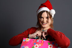 Young santa girl shopping Stock Image