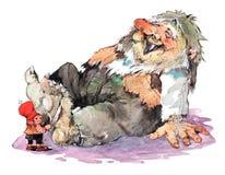 Young Santa and troll at home Stock Image
