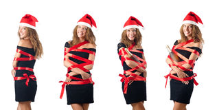 The young santa on white background Royalty Free Stock Photo