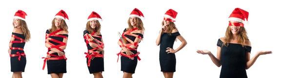 The young santa on white background Stock Photos