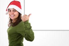 Young santa woman with copyspace Royalty Free Stock Photography