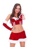 Young santa woman with ok gesture royalty free stock images