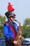 Young Saxaphone Player. Young saxophone player at Edmonton Exhiibtion July, 2014 Stock Image
