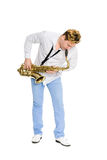 Young saxophonist plays the saxophone Stock Image