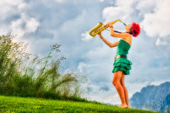 Young saxophonist Stock Image