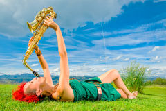 Young saxophonist Royalty Free Stock Image
