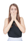 Young scared teenage girl covering her mouth with hand isolated royalty free stock photo