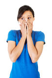 Young scared woman covering the mouth Royalty Free Stock Image