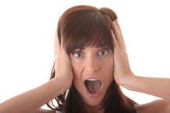 Young scared woman portrait Royalty Free Stock Photo