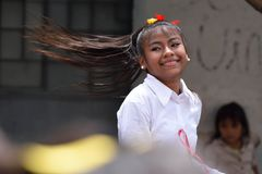 Young school band dancer. Young girl school band dancer engaged in the preparation of the festive parade in honor of Guatemala Independance day. 16/09/2017 Royalty Free Stock Photography
