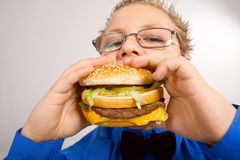 Young school boy eating hamburger