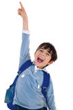 Young school boy excitingly shouts Stock Images