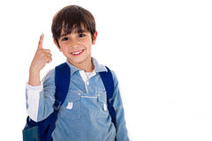 Young school boy with finger up Royalty Free Stock Image