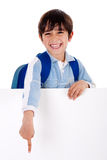 Young school boy showing hins fingers down Royalty Free Stock Photos