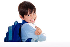 Young school boy showing hins fingers down Stock Images