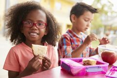 Young school girl and boy with packed lunches look to camera royalty free stock image
