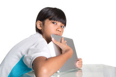 Young School Girl Hide Laptop Display I Royalty Free Stock Images