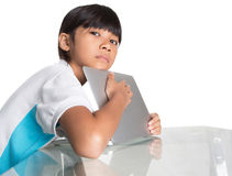 Young School Girl Hide Laptop Display II Royalty Free Stock Photos