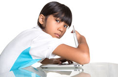 Young School Girl Hide Laptop Display IV Stock Photography
