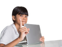 Young School Girl Hide Laptop Display VI Royalty Free Stock Images