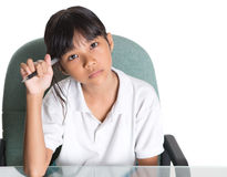Young School Girl With Laptop II Royalty Free Stock Photos