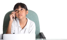 Young School Girl With Laptop III Stock Photos