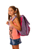 Young school girl with schoolbag isolated over white background Royalty Free Stock Image