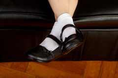 Young School Girl Student Wearing Black Shoes Stock Photo