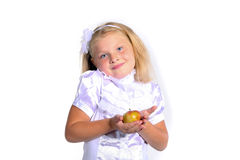 Young school girl in white blouse Royalty Free Stock Photos