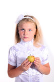 Young school girl in white blouse Stock Photo