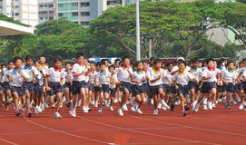 Young School Kids Running Stock Images